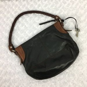 Fossil Leather Purse w/Woven Strap